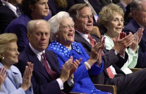 Three former Repubican First Ladies joined two of their husbands at the 2000 convention Ford, Bush and Reagan. (Washington Post)