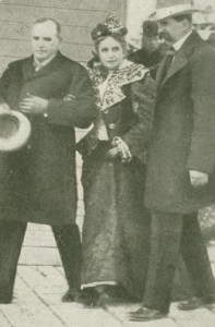 Ida McKinley escorted by her husband and doctor, 1899. (NFLL)