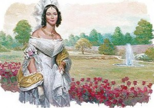 A depiction of Angelica Van Buren on the White House South Lawn. (ebay)