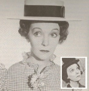 Nancy Davis as a stage actress, in emulation of her first theatrical co-star, comedic actress Zasu Pitts, a friend of her mother's. (Make-Believe, Leamer)