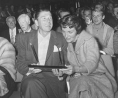 The Reagans at the 1960 Screen Actors Guild annual membership meeting. (Corbis