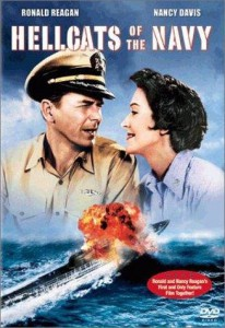 The poster advertising Hellcats of the Navy, the feature film which co-starred the Reagans.