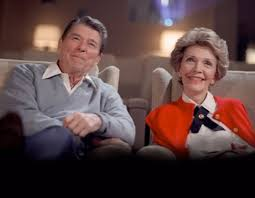 The President and Mrs. Reagan enjoyed watching Hollywood classic firms in the White House movie theater. (RRPL)