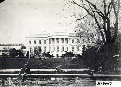 A National Archives photo showing the South Lawn during the Lincoln Administration where the first public Easter Egg Roll took place.