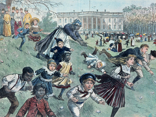 A color-tinted magazine illustration of children being watched by their caretakers at an 1880s White House Easter Egg Roll. (whitehousehistory.org)
