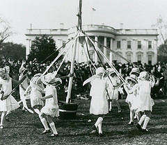 A maypole ceremony organized by Mrs. Hoover for the 1929 Easter Egg Roll. (LC)