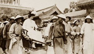 Alice to the Palace. The American Princess was carried in a gold vessel to encounter the Chinese Empress. (LC)