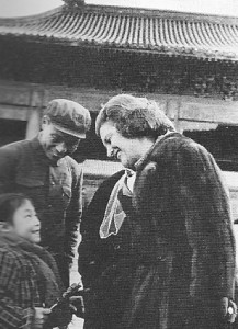 Betty Ford greets a child outside the Forbidden City. (GFPL)