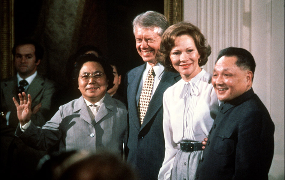 Deng Xiaoping and his wife visited the US in 1979, seen here with the President and Mrs. Carter, the only presidential couple since the Nixons who did not visit China during his presidency.