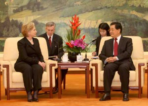 Chinese President Hu Jintao meets with visiting U.S. Secretary of State Hillary Clinton in Beijing, China, Feb. 21, 2009. (Xinhua)