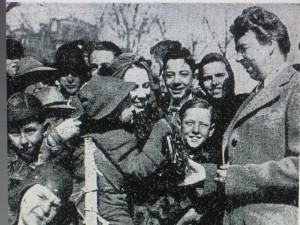 Eleanor Roosevelt greets guests at the 1937 Easter Egg Roll.
