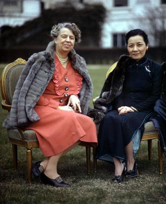 First Lady Eleanor Roosevelt of the United States and Song Meiling of the Republic of China at the White House. (FDRL)
