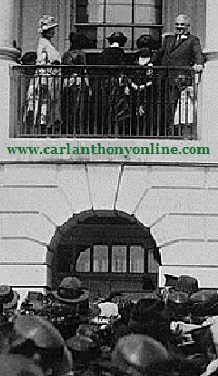 Florence and Warren Harding overlooking the crowds at the 1921 White House Easter Egg Roll.