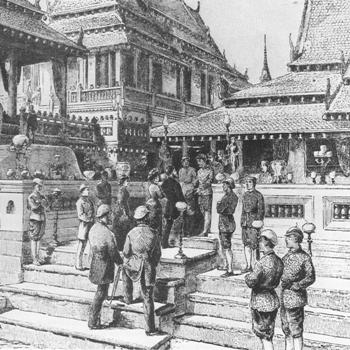 Former President and First Lady Ulysses and Julia Grant arriving to meet Siam's King Chulalongkorn at his Palace.