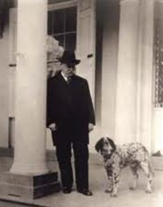 Grover Cleveland and his dog Hector, the first known First Dog to attend the White House Easter Egg Roll.