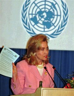 First Lady Hillary Rodham Clinton delivering her speech at the panel on Women and Health at the U.N. Women's Conference in Beijing on September. 5, 1995 (AP)
