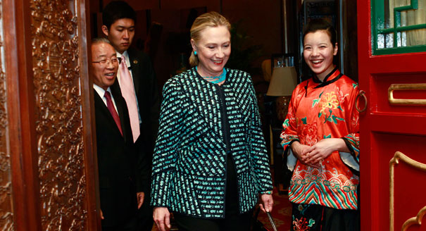 Former First Lady Hillary Clinton, in her position as US Secretary of State during her 2012 trip to China. (AP)