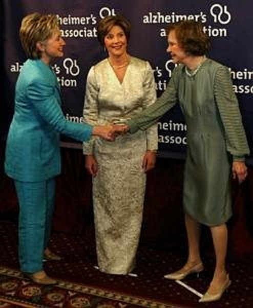 Three of the fifteen U.S. First Ladies who have been to China: Hillary Clinton, Laura Bush and Rosalynn Carter. (AP)