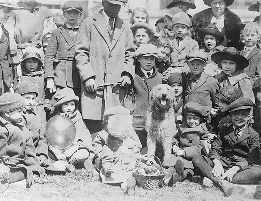 Laddie Boy, the Harding Airedale at the 1921 Easter Egg Roll.