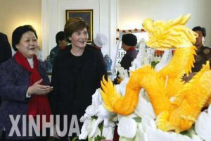 During her brief, initial visit to China,Laura Bush visited a Chinese food show.