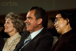 Pat and Richard Nixon attend a ballet with Jiang Jing during their second visit to China in 1976. (Corbis)