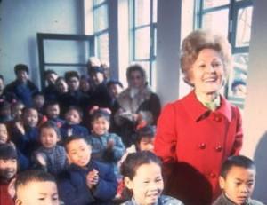 Pat Nixon in a Chinese classroom. (Life)