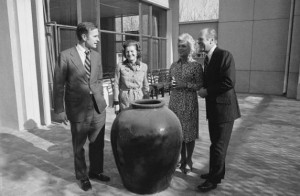 President Ford, right, and first lady Betty Ford, second from left, visit then-Ambassador George H.W. Bush