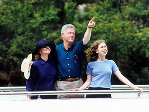 The Clintons on their Li River trip in Guilin, China. (AP)
