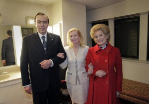 Tricia Nixon posed with performers portraying her parents in the modern opera Nixon in China. (Metropolitan Opera).