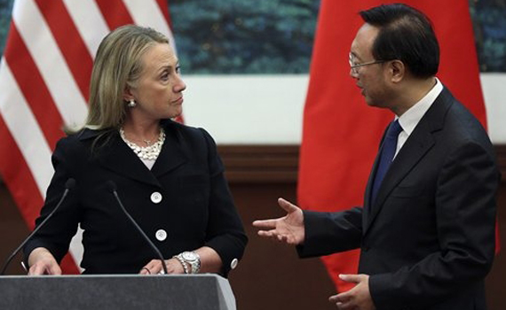 U.S. Secretary of State Hillary Clinton and Chinese Foreign Minister exchange their conflicting views on the South China Sea at a news conference in Beijing Sept. 5. (AP)