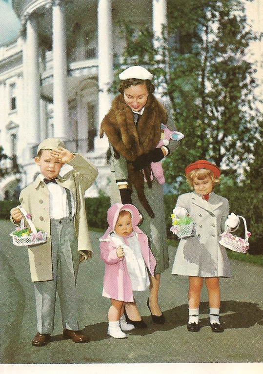 Barbara Eisenhower, the President's daughter-in-law, posed during the Easter season with her children David, Anne and Susan in 1953. (AP)