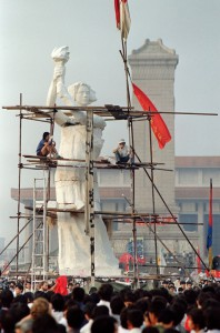 "1989 Pro-democracy demonstrators in Beijing's Tiananmen Square erect 33-foot high ""Goddess of Democracy"" statue. (AP)"