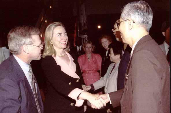 Mrs. Clinton greeting some of the thousands of foreign representatives, both men and women, who attended the Beijing conference. (New York Times)