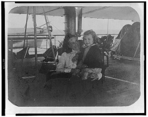 Nellie Taft with her son Charlie, crossing the Pacific Ocean headed for Asia. (Taft National Historic Site)