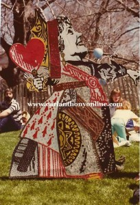 Among the cut-out figures at the White House Easter Egg Roll was one depicting the First Lady as the Queen of Hearts.