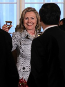 Secretary of State Hillary Clinton toasts with Chinese Vice Premier Wang Qishan during a dinner of the U.S.-China Strategic and Economic Dialogue in Washington, D.C. May 9, 2011. (Getty)