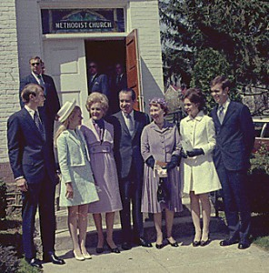 The Nixons and Mamie Eisenhower attend Easter Services near Camp David in Thurmont Maryland, April 11, 1971.
