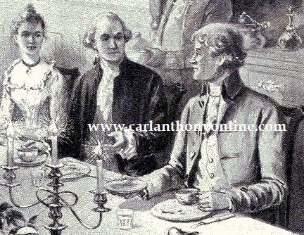 A late 19th century drawing depicted young Martha Randolph serving as her father's hostess at a dinner for George Washington.