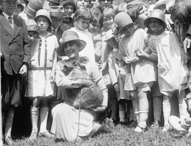 Grace Coolidge brought her racoon Rebecca to one of the Easter Egg Roll events she attended.