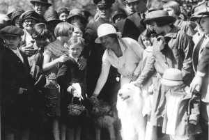 Grace Coolidge with two of her dogs at the Easter Egg Roll. (LC)