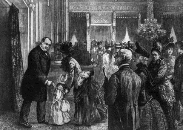 Grover Cleveland shakes hands with a child during an East Room reception.