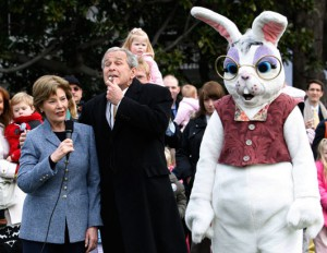 Laura and George Bush presiding over an Easter Egg Roll event.