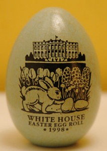 One of the Clinton wood eggs, marked with the notation of 1998, given to guests.