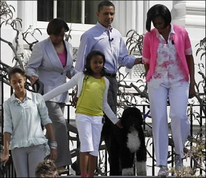 The Obama family brought their dog Bo to the 2009 White House Easter Egg Roll.