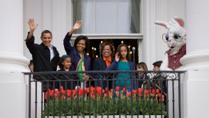 The Obama family greeting children to the first Easter Egg Roll they hosted, in 2009.