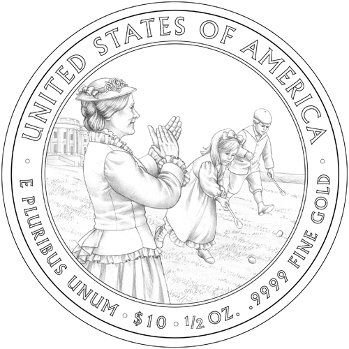The reverse of a 2011 gold commemorative coin designed by Barbara Fox, shows Lucy Hayes applauding children participating in the first White House Easter Egg Roll. (US Mint)