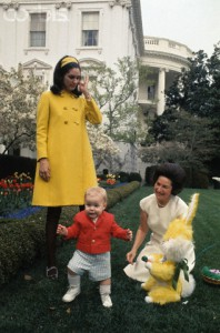 Lady Bird Johnson in the rose garden with her grandson Patrick Lyndon Nugent and an Easter Bunny. and her daughter Lynda Bird Robb, 1968. (Corbis)