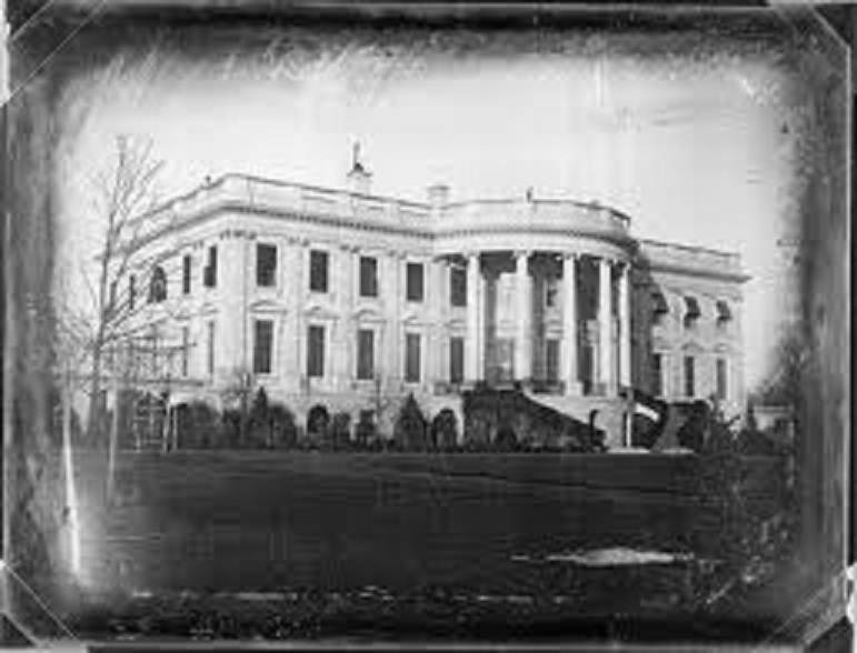 The South Lawn of the White House photographed during the Polk Administration some twenty years before the first authenticated Easter Egg Roll event took place there.