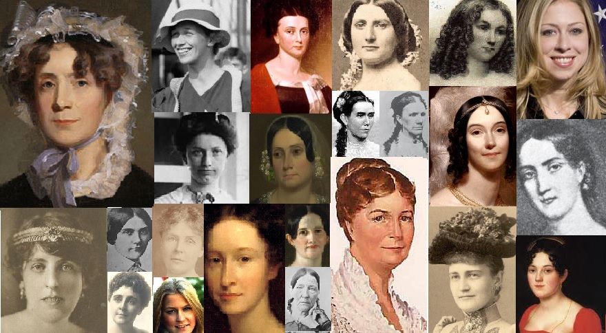 First Ladies who never married Presidents. Left to right, top row: Martha Randolph, Anna Roosevelt, Jane Harrison, Harriet Lane, Priscilla Tyler, Chelsea Clinton; second row: Helene Taft, Jane Findlay, Martha Patterson, Mary Stover, Angelica Van Buren, Letitia Semple; third row: Abby Fillmore, Rose Cleveland, Sarah Jackson; bottom row: Margaret Wilson, Helen Bones, Susan Ford, Emily Donelson, Abigail Means, Molly McElroy, Mary McKee, Eliza Hay.