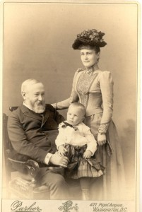 President Harrison, daughter Mary McKee and grandson Baby McKee. (Benjamin Harrison Home website)